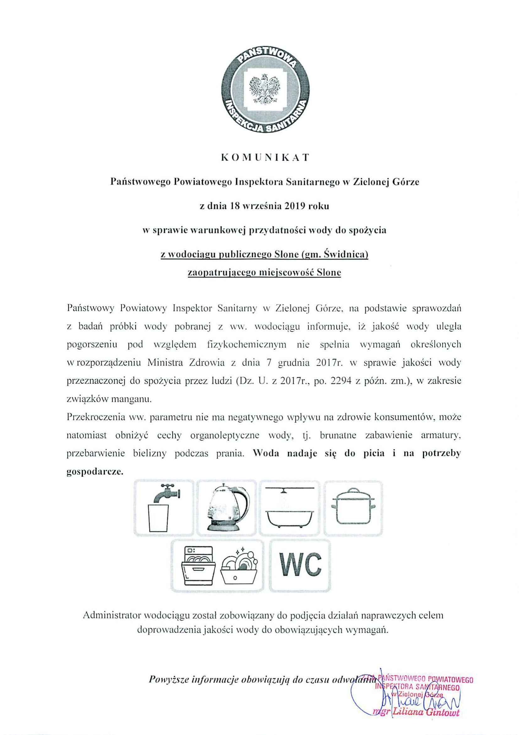 Ilustracja do informacji: Komunikat o stanie wody w Słonem