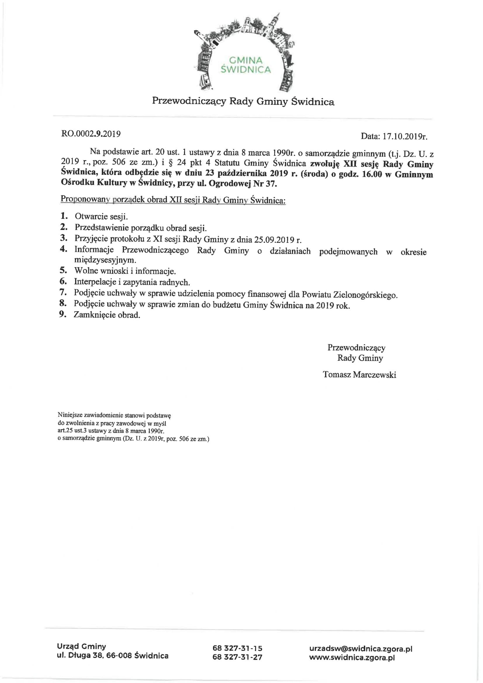 Ilustracja do informacji: Zaproszenie na XII sesję Rady Gminy Świdnica