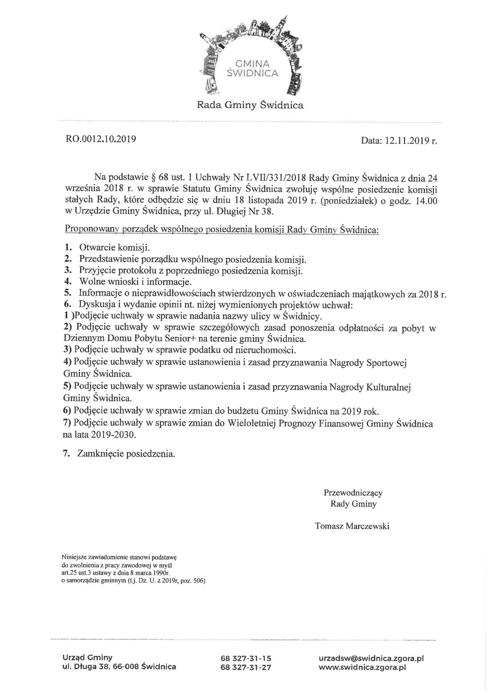 Ilustracja do informacji: Posiedzenie komisji Rady Gminy Świdnica