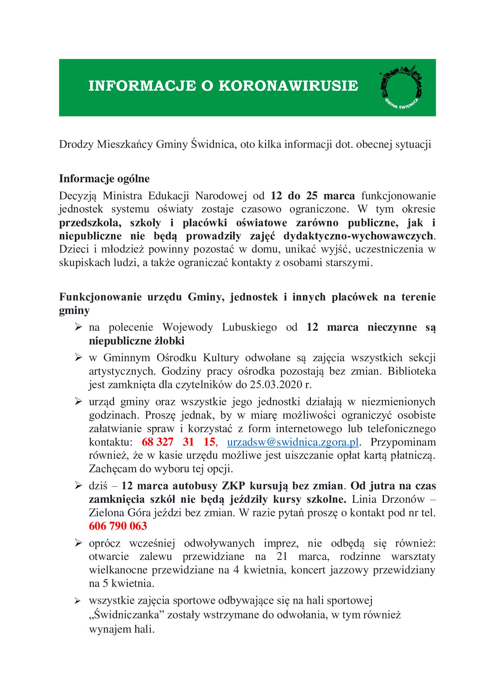 Ilustracja do informacji: Informacje Wójta dot. koronawirusa