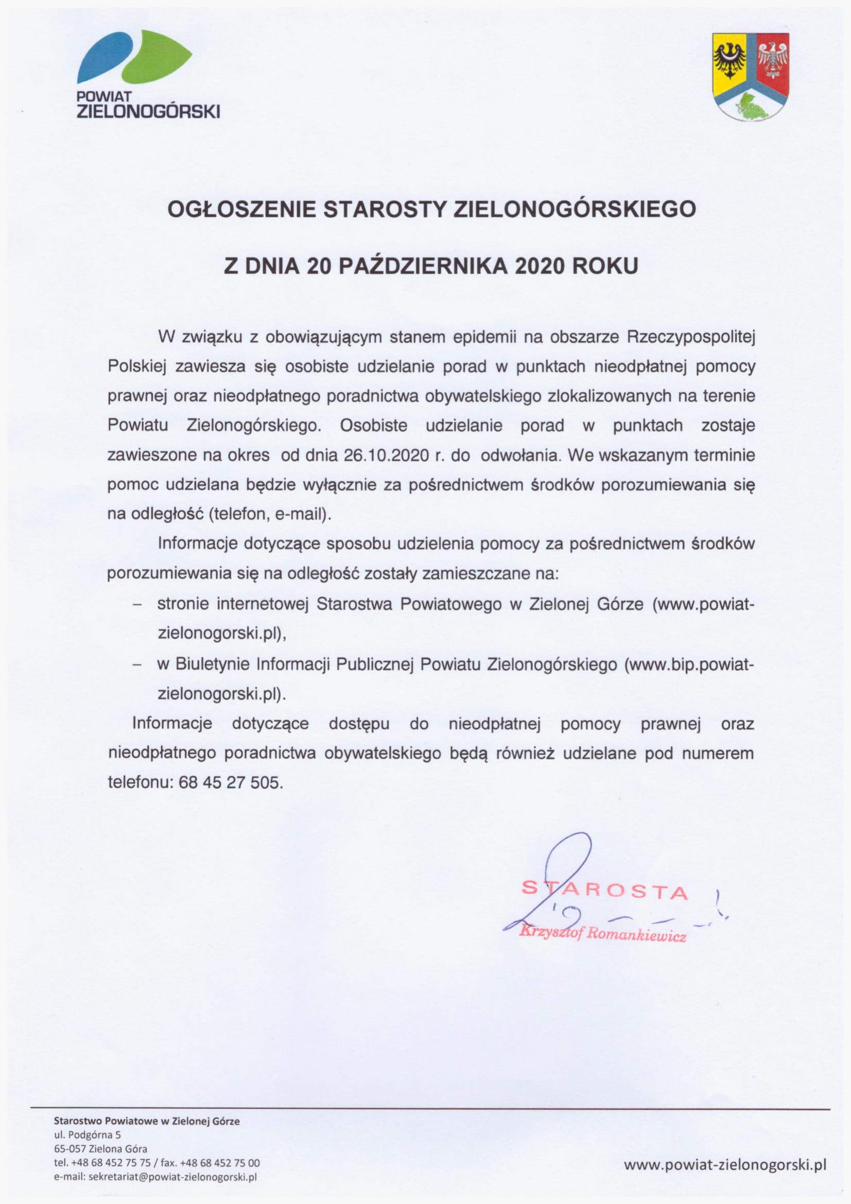 Ilustracja do informacji: Zawieszenie osobistego udzielania porad